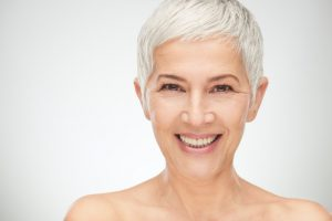 older woman smiling white hair